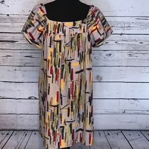 Elle Multicolor Printed Sheath Midi Dress Size L
